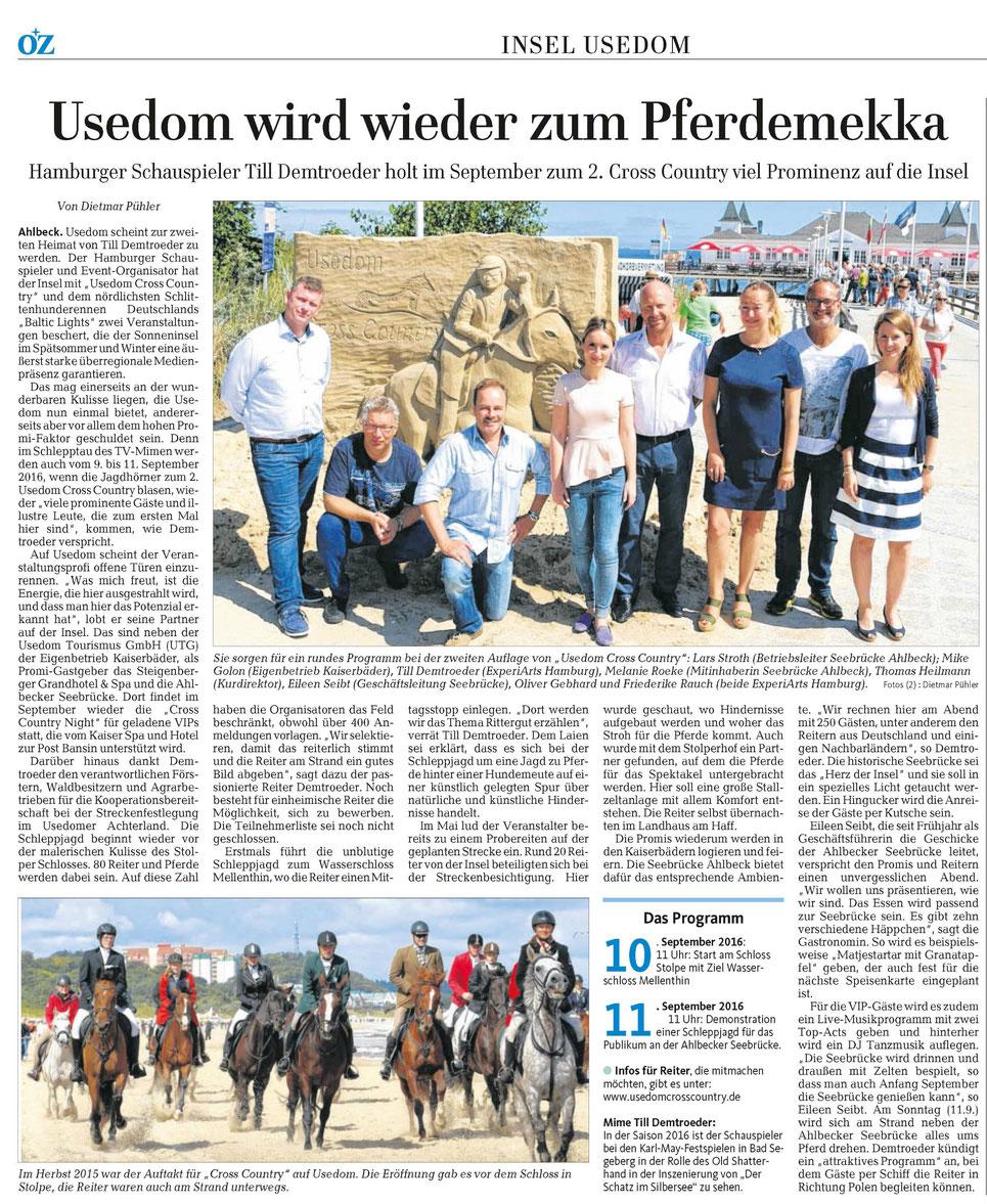 Pressebericht der Ostseezeitung Juli 2016