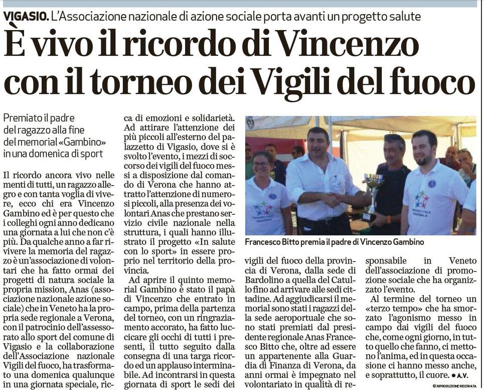 Dal giornale L'Arena del 23/09/2015