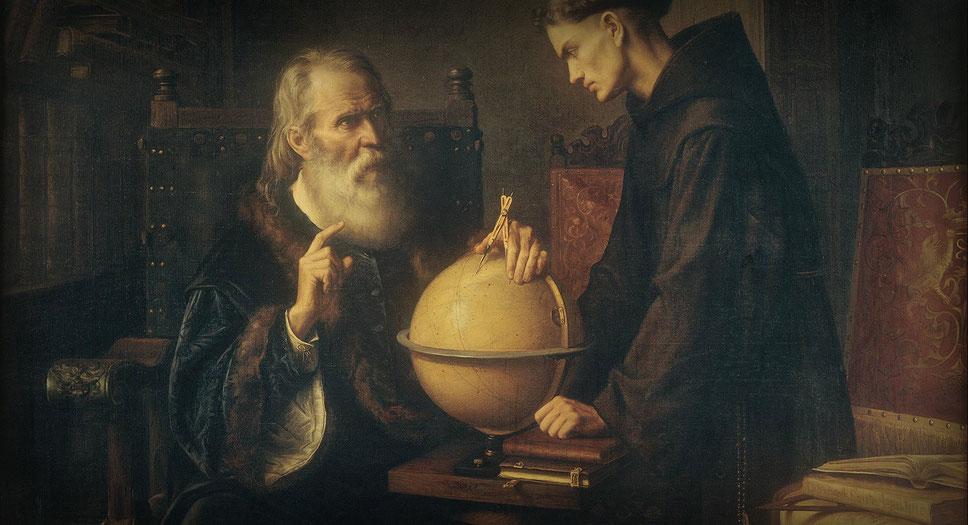 """""""Und sie bewegt sich doch"""": Galileo Galilei lehrt in Padua. Gemälde: Félix Parra (1845 - 1919), Lizenz: Gemeinfrei"""