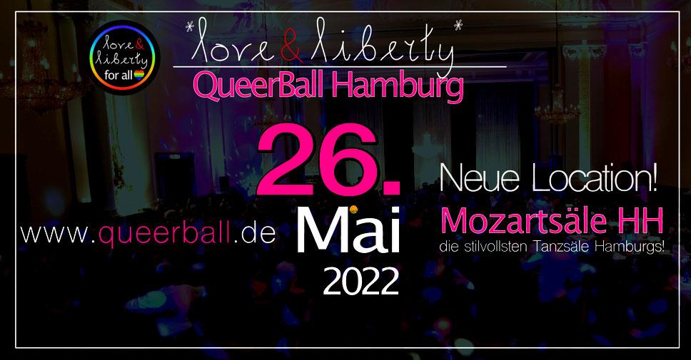 Vorschau 4. Queerball Hamburg am 9.4.22 in den Mozartsälen