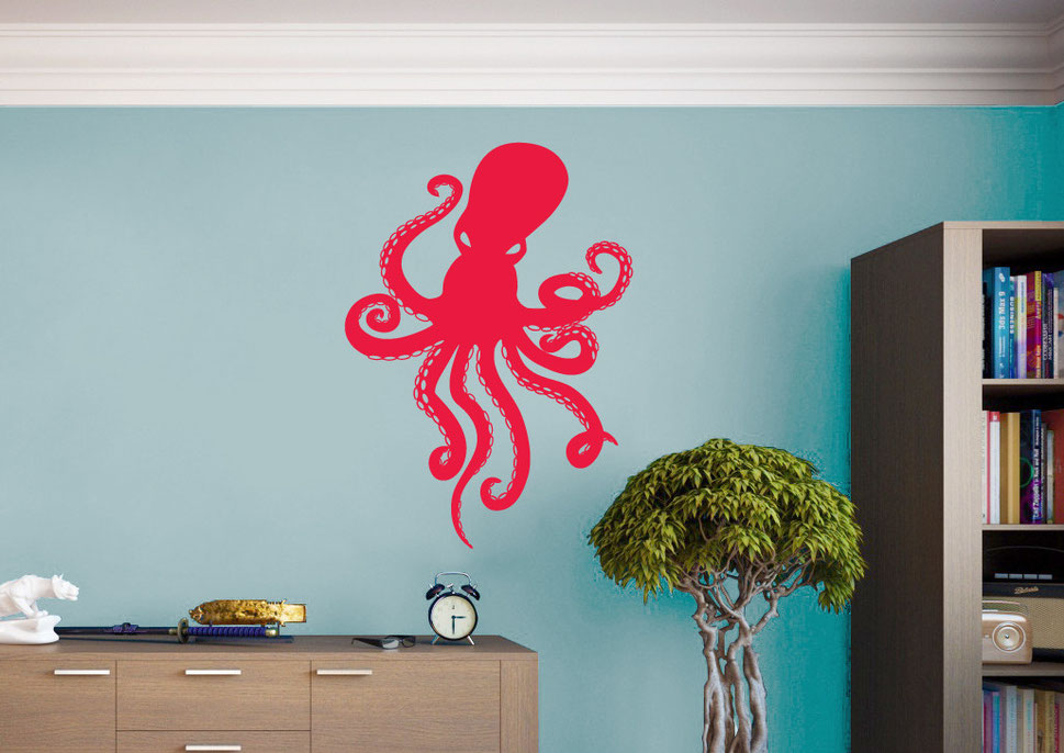 Octopus Ocean vinyl wall art sticker to make a statement in any home. From www.wallartcompany.co.uk