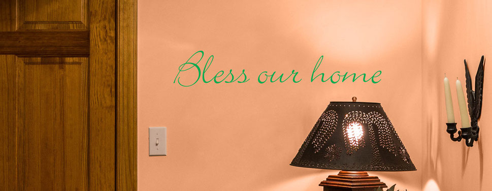 Bless our home, wall art decal, this design comes in many colours and different sizes at www.wallartcompany.co.uk