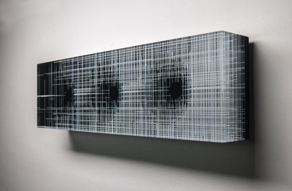 Blackout  | glued, cut,  hand drawn,  polished glass | 60 x 18 x 8 cm | 2016 | ●