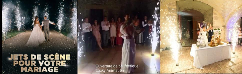 Artifice de scène pour l'entrée en salle, pour l'ouverture de bal et la pièce montée pour votre mariage à Cannes et Monaco,