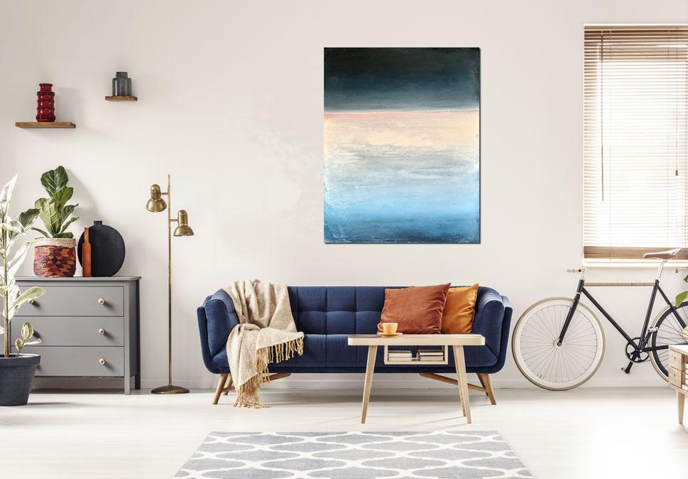 Bild - 130 x 100 cm Blau - Landschaftsbild