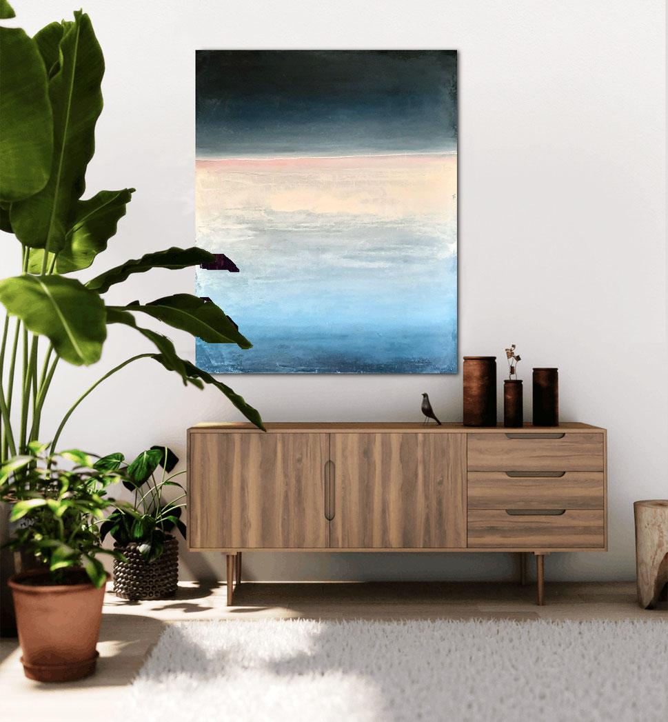 landschaftsbild - blau beige - Strand zartrosa