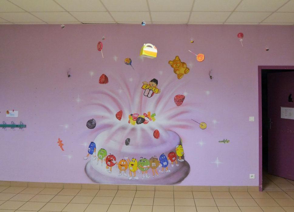 fresque-chambre-graff-m&m-bonbon-haribo