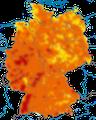 Karte zum Brutvorkommen des Rotkehlchens in Deutschland.