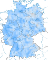 Karte zum Vorkommen des Rotkehlchens in Deutschland im Winter.
