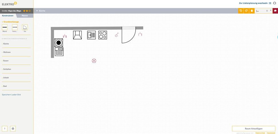 Screen der grafischen Planung eines Raumes mit dem Elektro+ Raumplaner