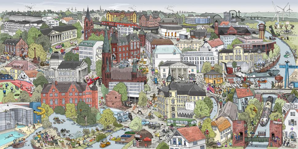 Stadtansicht der Stadt Oldenburg als Wimmelbild