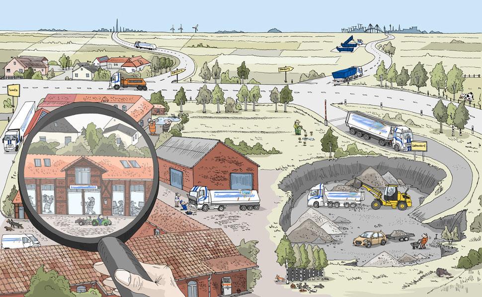 Wimmelbild-Detail auf dem Bauwagen
