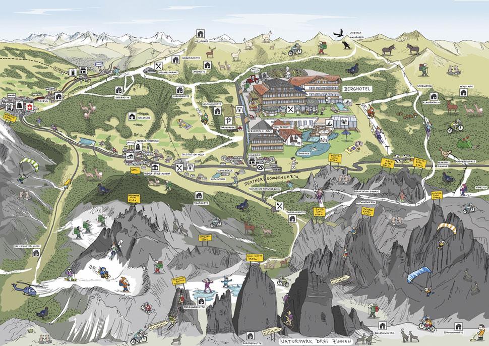 Geländeplan eines Schweizer Hotels als Wimmelbild, erstellt vom Illustrator Hannes Mercker