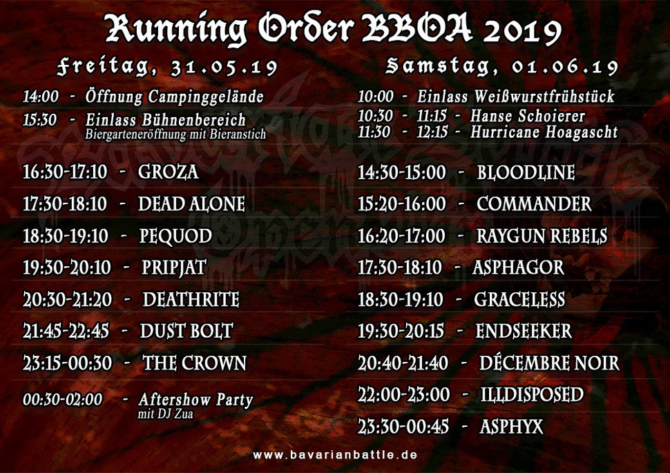 Time Table BBOA 2019 | Quelle: www.facebook.com/BavarianBattleOpenAir.official/