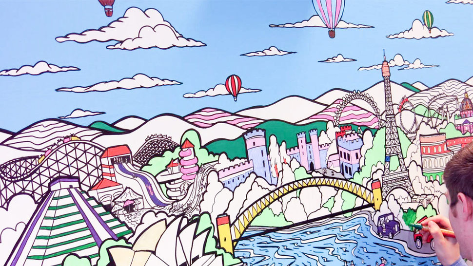 make your own corporate art by colouring in