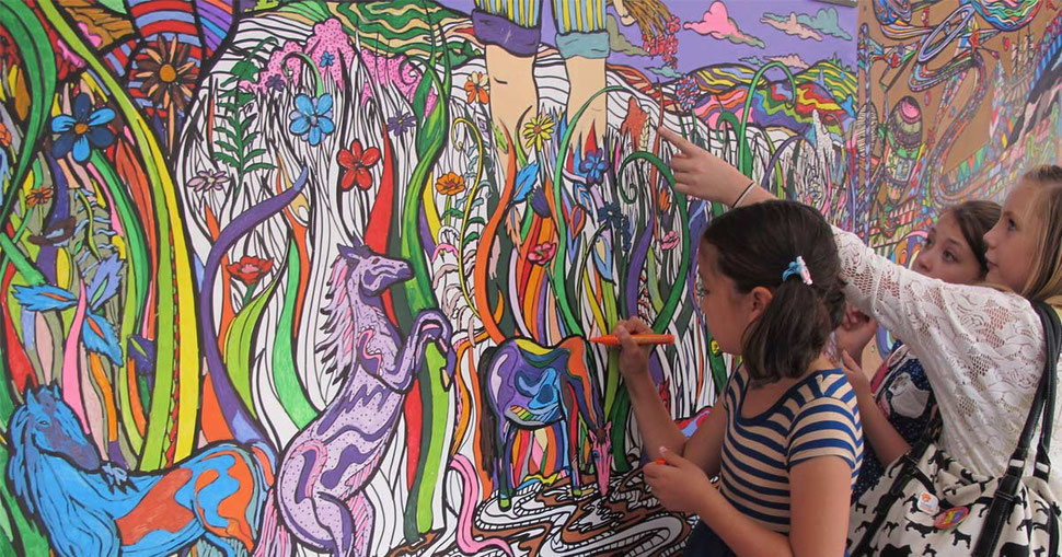 Children colour giant interactive art