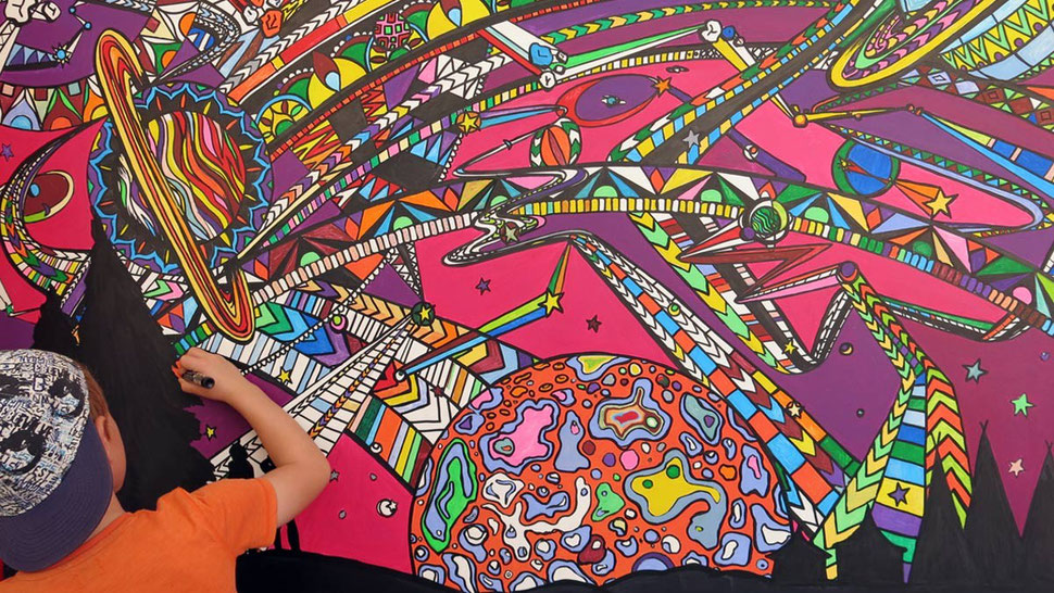 Colouring in the massive interactive mural