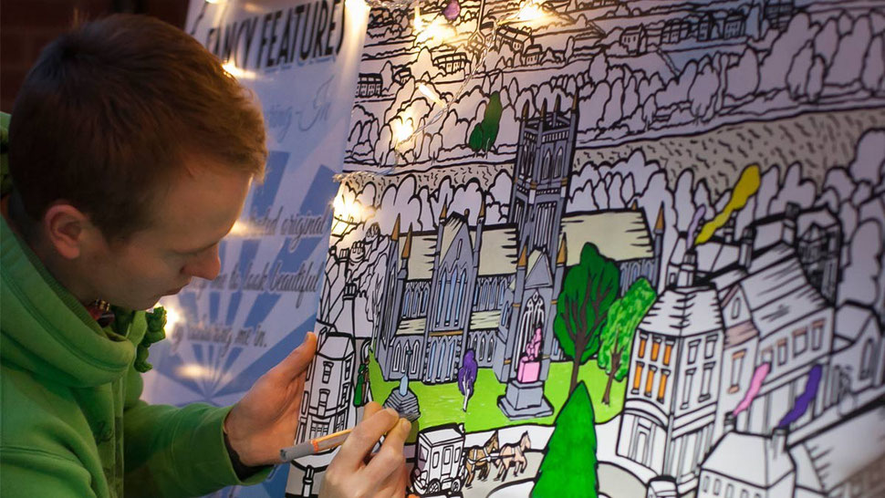 Public art being coloured in at Worcester event