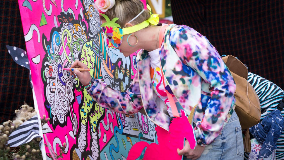 Colouring in at Secret Garden Party festival