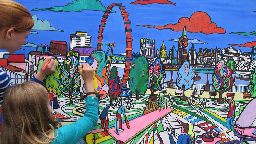 Interactive art that features London City gets coloured by the the public