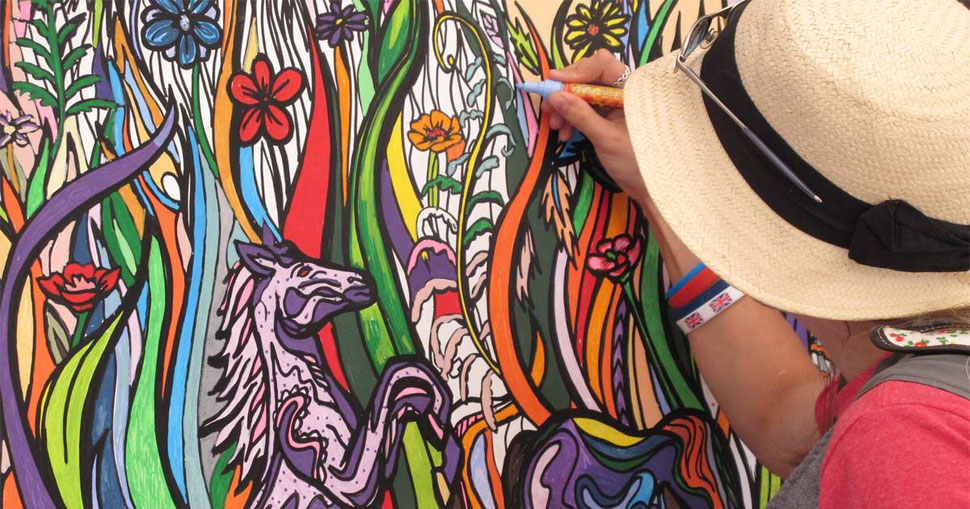 Colouring mural for creative event