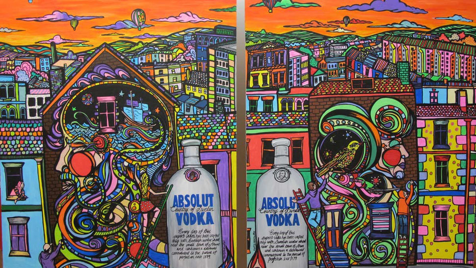 absolut vodka art coloured by the public