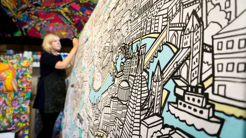 Fancy Features studio, hand illustrated giant colouring in