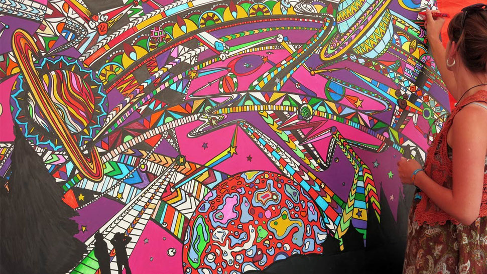 Colouring in at events, great for this creative festival