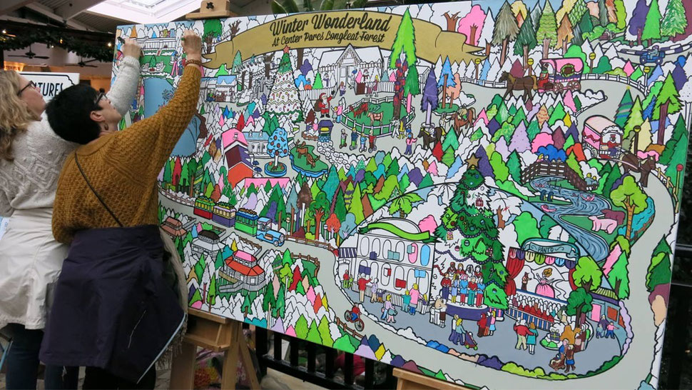 giant interactive colouring in mural