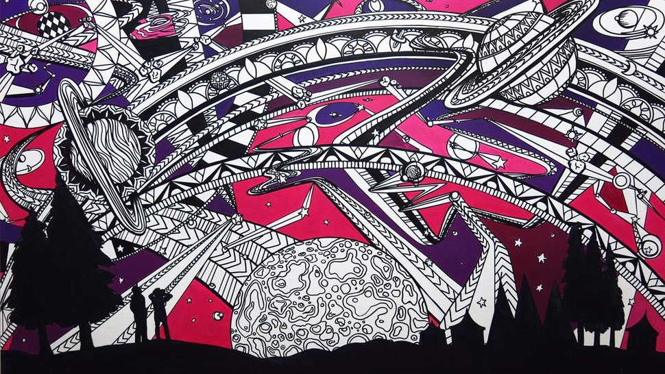 Interactive art to colour in with artists paint pens