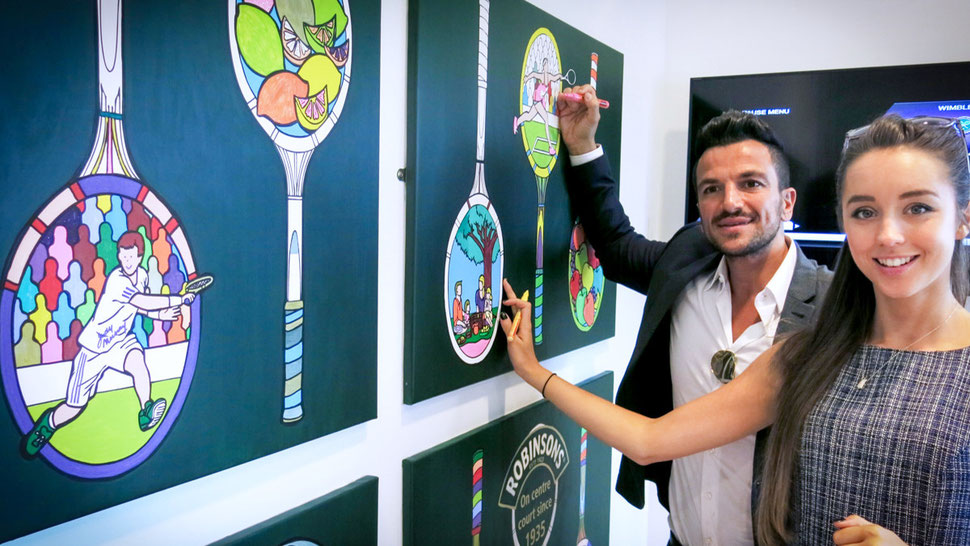 Peter Andre and Emily MacDonagh make tennis art at Wimbledon by colouring it