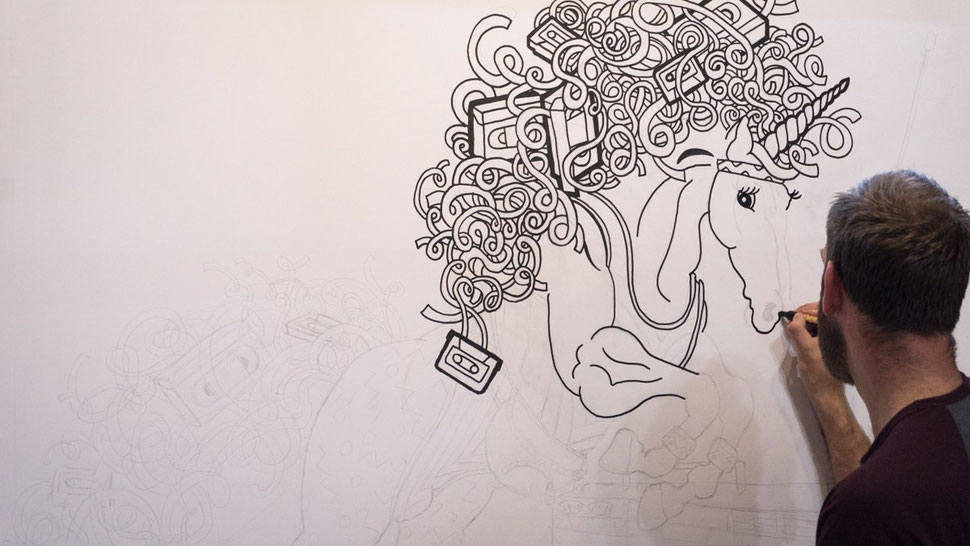 Illustrating a giant colouring in