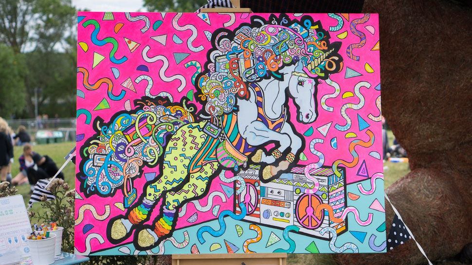 A finished colouring in canvas created with artists paint pens