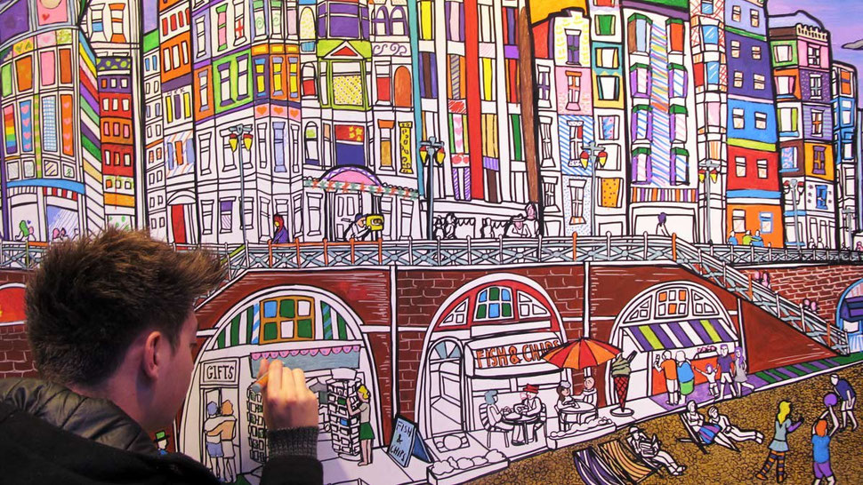 A creative entertainment idea, giant colouring in