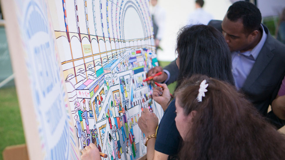 Fully personalised colouring canvas at an event