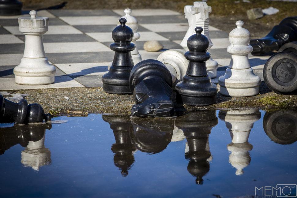 schach, pfütze, spiegelung