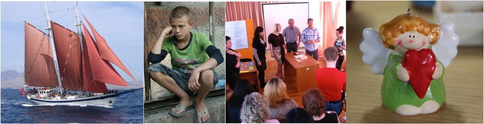 Schulschiff Ruach,                      Junge in Transnistrien,                   Schulungen in Osteuropa,             Engel zum Verkauf in der Brocki Belp