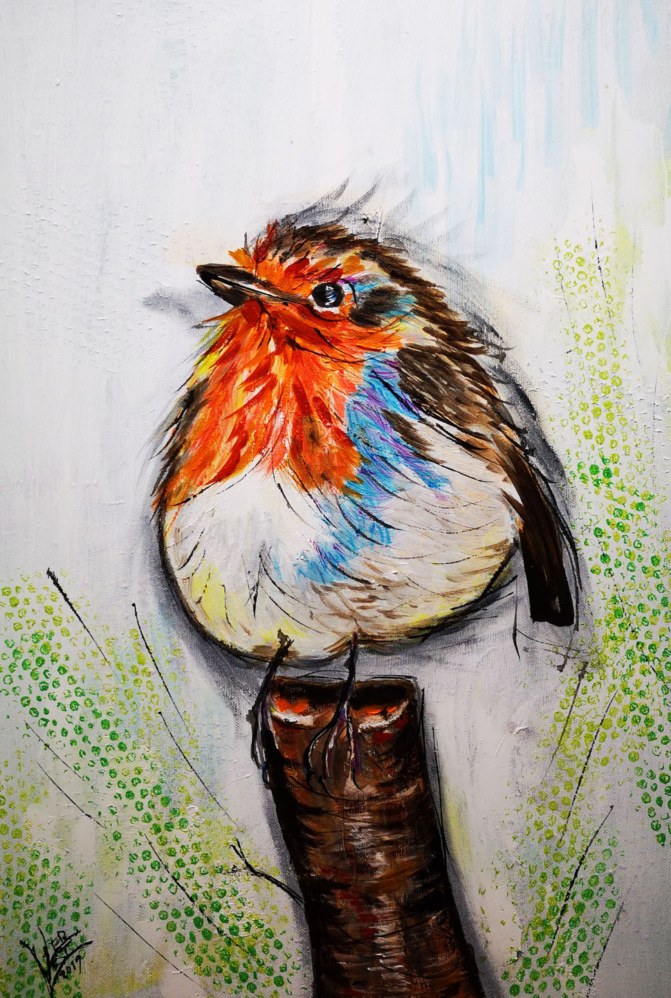 49. Robin on a trunk 40x60 cm