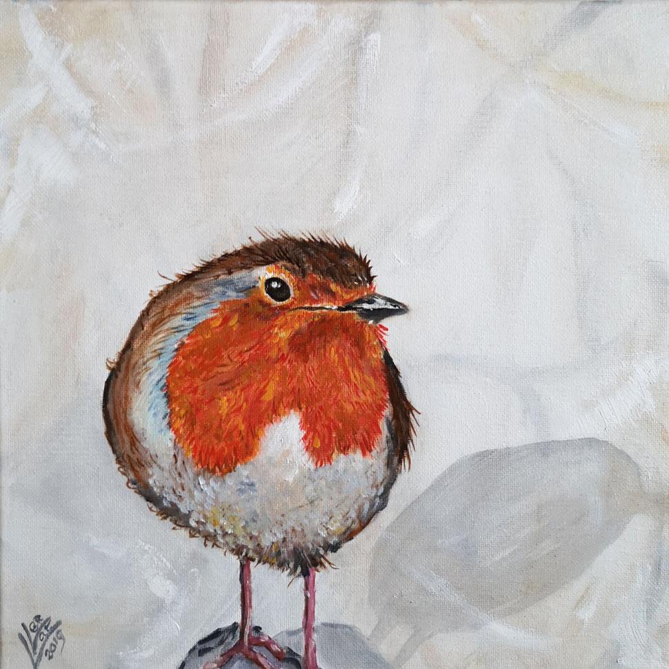 11. Robin on a rock 30x30 cm