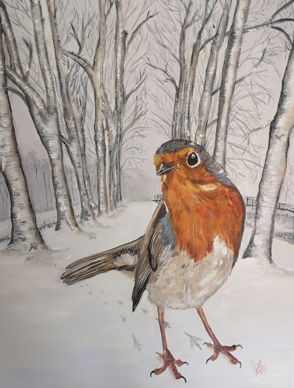 "Giant robin ""Winter walk""60x80cm"