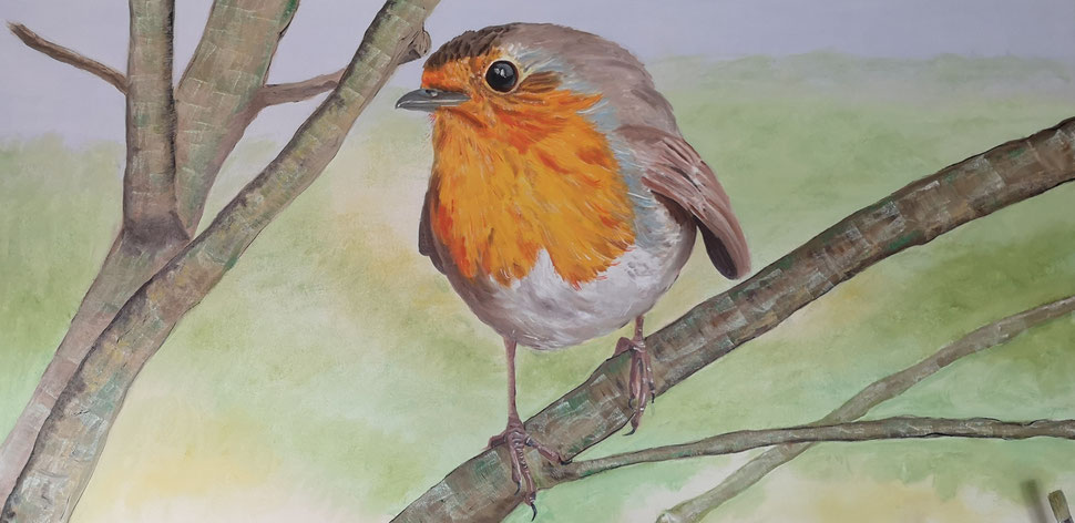 "Giant robin ""Üp the tree""120x60 cm"