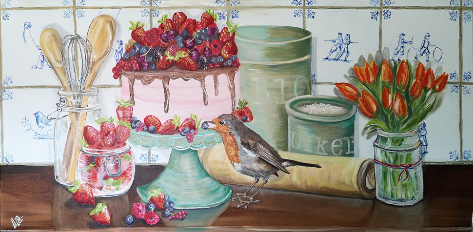 "Giant robin ""The blue berry thief""120x60 cm"