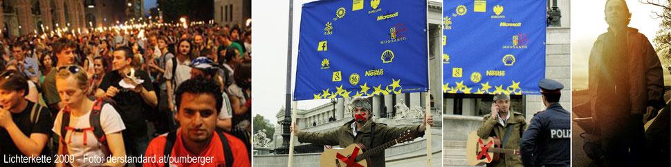"""Lichterkette Wien (Foto: derstandard.at/pumberger) - Die """"alternative"""" EU-Fahne - 700 km zu Fuß durch Österreich"""