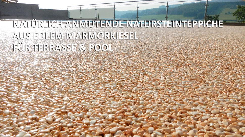 Natursteinteppich Pool Terrasse