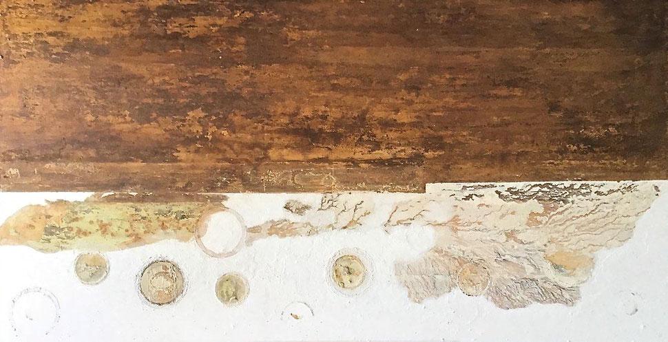 Tierra y mar - Acrílico sobre gesso/cartón plastificado -  163W x 85H x 2cm
