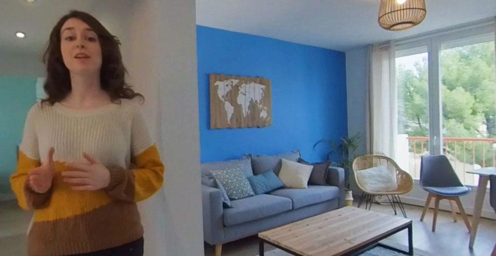 Visite appartement en virtuelle vidéo 360 degrés.