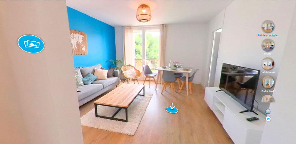 Exemple de visite virtuelle panoramique 360 degrés d'un appartement sur le site liveinphoto.fr (panorama 360)