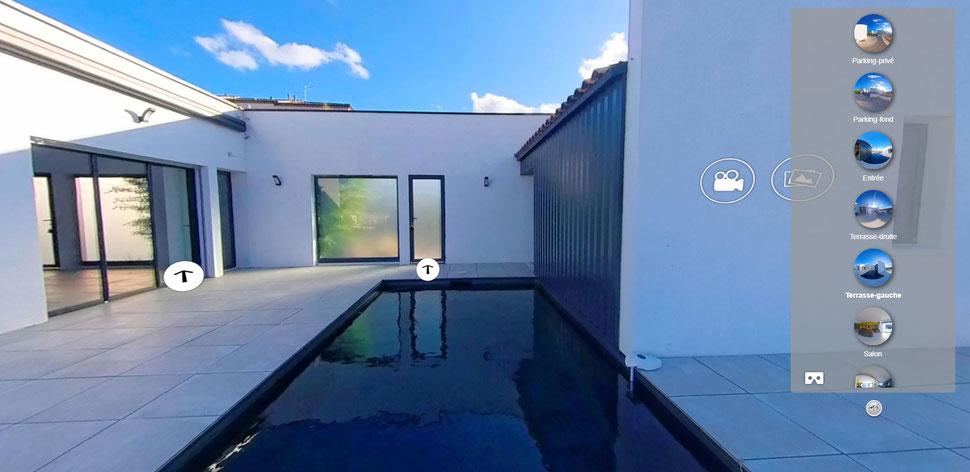 Exemple de visite virtuelle panoramique 360 degrés d'une villa sur le site liveinphoto.fr (panorama 360)