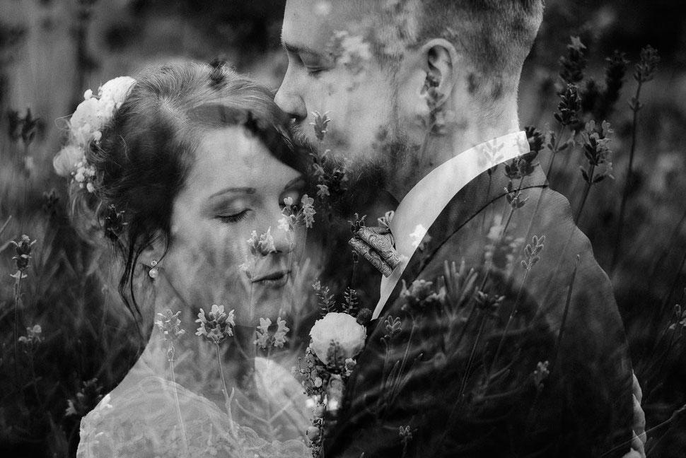 Thomas Sasse Fotografie Potsdam, Blumen, Brautpaar Doppelbelichtung, Hochzeitsfotograf Magdeburg