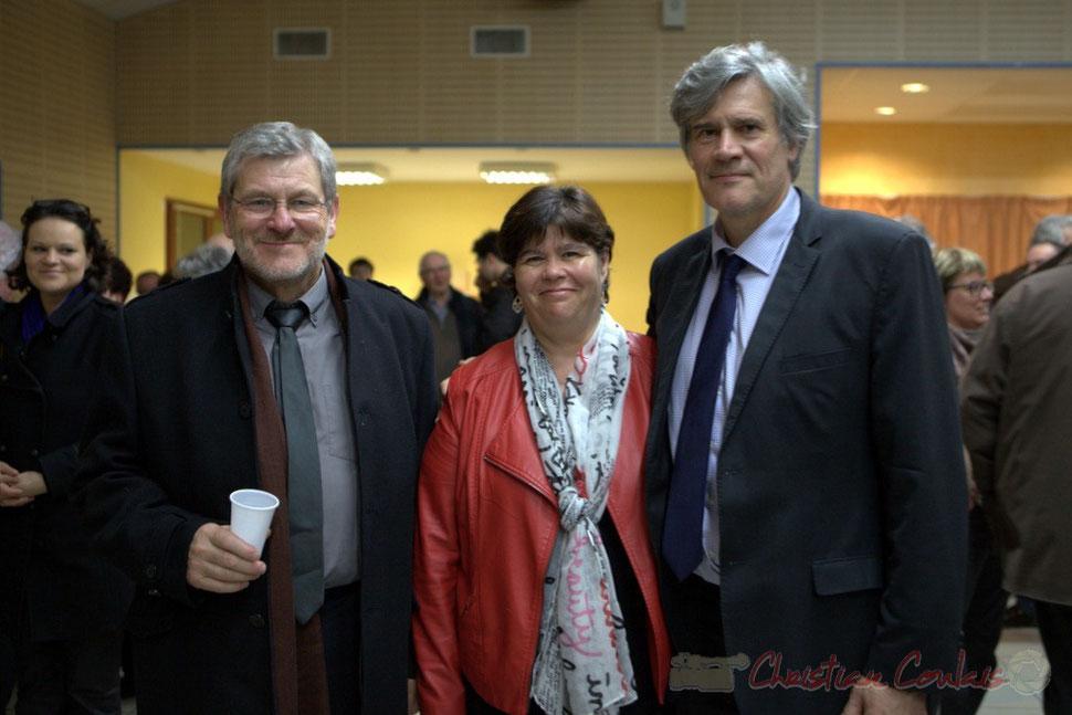 Guy Moreno, Marie-Claude Agullana, candidats aux élections départementales, Canton de l'Entre-Deux-Mers et Stéphane le Foll. 9 mars 2015